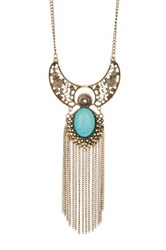Stephan And Co Stone And Filigree Pendant Necklace Blue