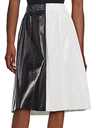 Proenza Schouler Colorblock Perforated Leather Skirt Black White