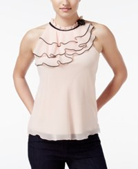 Amy Byer Bcx Juniors' Sleeveless Ruffled Blouse Blush