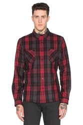 Black Scale Ocelot Button Down Red