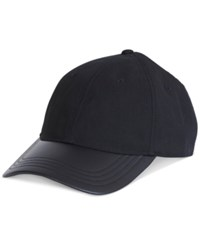 Nautica Men's Leather Brim Baseball Cap True Black