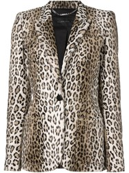 Barbara Bui Leopard Print Blazer Nude And Neutrals