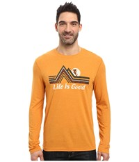 Life Is Good Downhill Long Sleeve Cool Tee Artisan Gold Men's Long Sleeve Pullover Tan