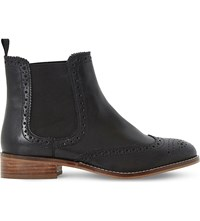 Dune Brogue Leather Chelsea Boots Black Leather