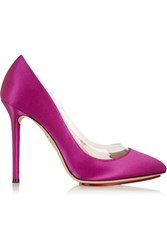 Charlotte Olympia Party Monroe Pvc Trimmed Suede Pumps Pink