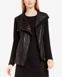 Vince Camuto Coated Ponte Moto Jacket Rich Black