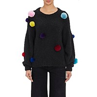Spencer Vladimir Women's Pom Pom Embellished Cashmere Blend Sweater Grey