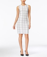 Calvin Klein Sleeveless Plaid Sheath Dress White Black