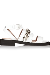Givenchy Natalia Chain Trimmed Sandals In White Leather