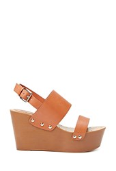 Forever 21 Faux Leather Wedge Sandals Tan