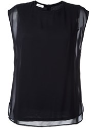 Akris Punto Sheer Overlay Top Blue