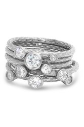 Sterling Silver Cz Branch Stackable Ring Set White