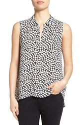 Women's Vince Camuto Print Collared Keyhole Neck Sleeveless Blouse Rich Black