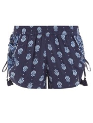 Accessorize Bianco Block Print Shorts Blue