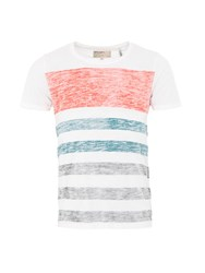 Garcia Mens Stripe Cotton T Shirt Red