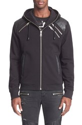 Men's Just Cavalli Faux Leather Trim Full Zip Hoodie