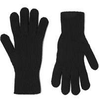Margaret Howell Ribbed Merino Wool And Cashmere Blend Gloves Black