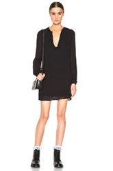 Saint Laurent Sunflower Applique Tunic Dress In Black