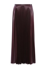 Karen Millen Wetlook Pleat Maxi Skirt Aubergine