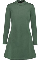 Etre Cecile Plaid Bonded Jersey Dress Army Green