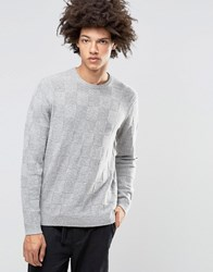 Asos Lambswool Rich Jumper With All Over Texture In Grey Grey