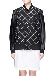 Rag And Bone 'Edith' Windowpane Check Leather Sleeve Bomber Jacket Black