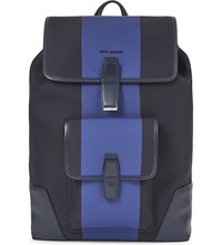 Christian Dior Homme Structured Canvas Backpack Navy Electric Blue