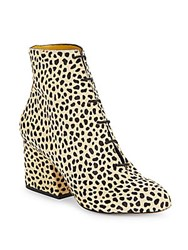Charlotte Olympia Elsie Cheetah Print Calf Hair Ankle Boots Brown