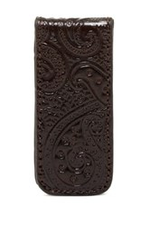 Robert Graham Paisley Leather Magnetic Money Clip Brown