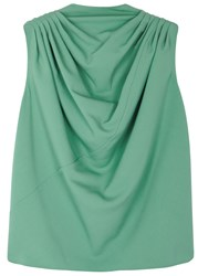 Rick Owens Claudette Mint Draped Wool Top Green