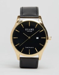 Reclaimed Vintage Leather Watch In Black And Gold Black