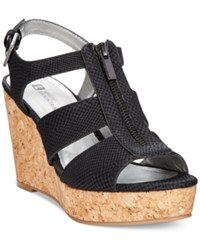 White Mountain Dharma Platform Wedge Sandals Women's Shoes Black