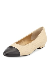 Neiman Marcus Ginger Quilted Cap Toe Flat Pudding Bl