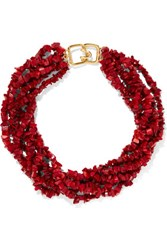 Kenneth Jay Lane Beaded Resin Necklace Red