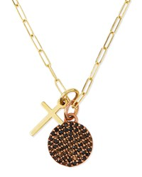 Cross And Full Moon Pave Diamond Necklace Katie Design Jewelry Gold