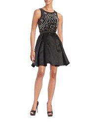 Xscape Evenings Two Piece Beaded Cocktail Dress Black