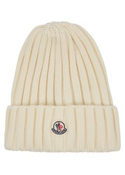 Moncler Off White Chunky Knit Wool Beanie