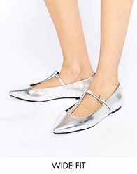 Asos Long Life Wide Fit Pointed Ballet Flats Silver
