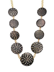 Nest Spotted Horn Disc Station Necklace Black Gold