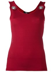 Versus 'Lion' Plaque Detail Tank Red