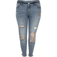 River Island Womens Plus Blue Sequin Alannah Relaxed Skinny Jeans