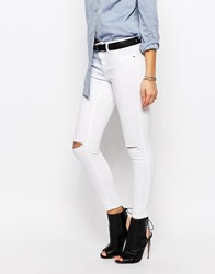 Jdy J.D.Y Skinny Jeans With Ripped Knees White