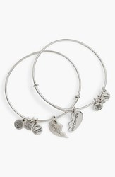 Women's Alex And Ani 'Best Friends' Adjustable Wire Bangles Silver Set Of 2