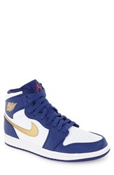 Nike Men's 'Air Jordan 1 Retro' High Top Sneaker Deep Royal Blue Gold White