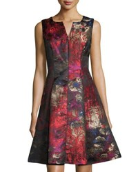 Chetta B Split Neck Pleated Jacquard Fit And Flare Dress Lipstick M