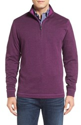 Bugatchi Men's Stripe Mock Neck Quarter Zip Pullover Sweater Plum