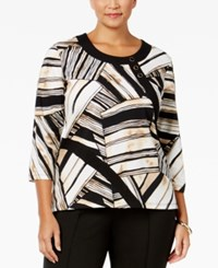 Alfred Dunner Plus Size Madison Park Collection Button Detail Printed Top Multi