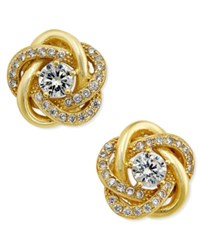 Macy's Cubic Zirconia Love Knot Stud Earrings In 18K Gold Plated Sterling Silver Yellow Gold