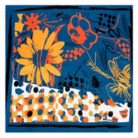 Bianca Elgar Orange Flowers Summer Medium Square Scarf Black White Blue