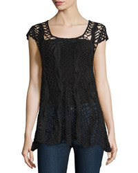 Liquid By Sioni Crewneck Crochet Tunic Black
